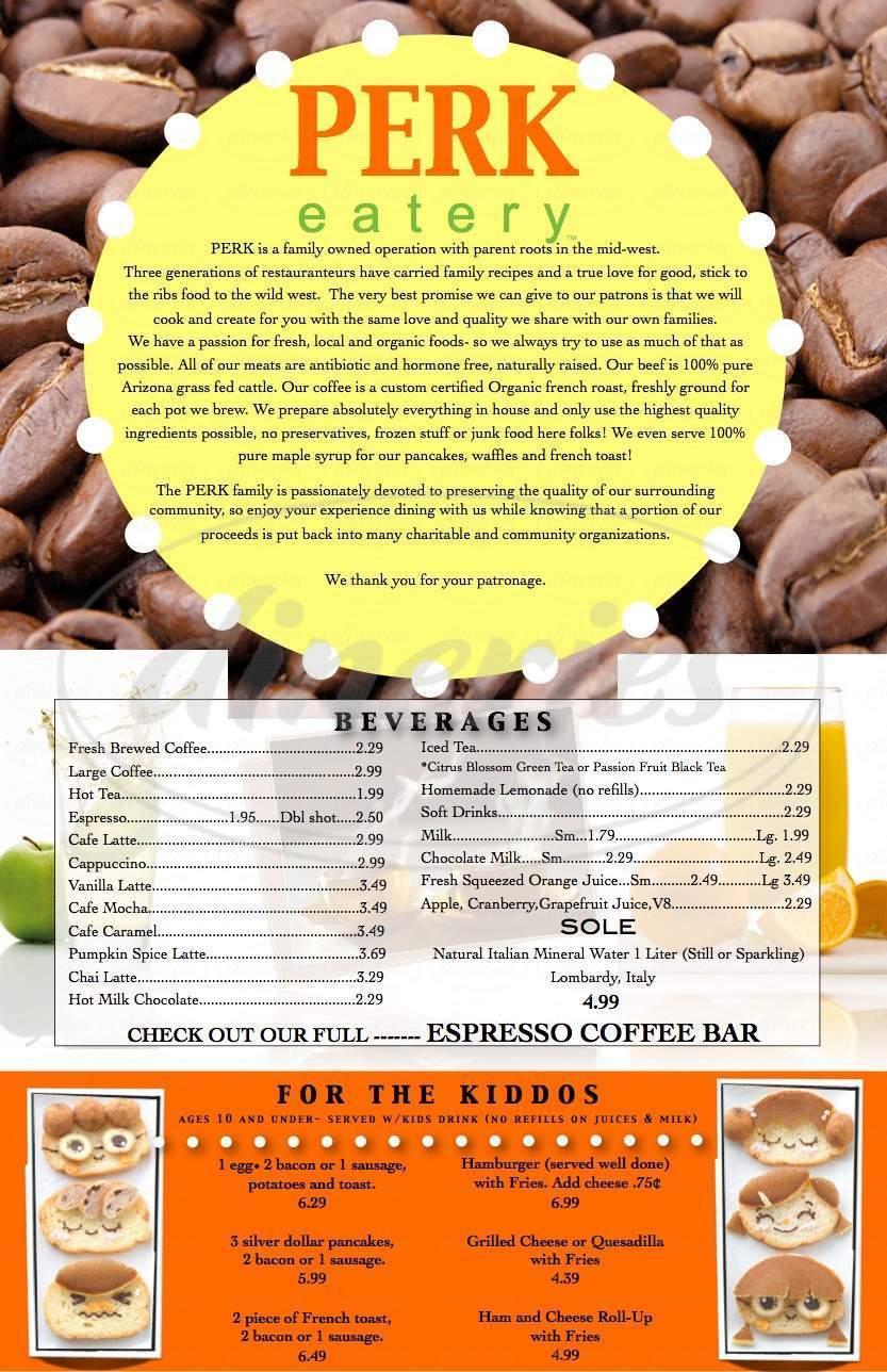 menu for Perk Eatery