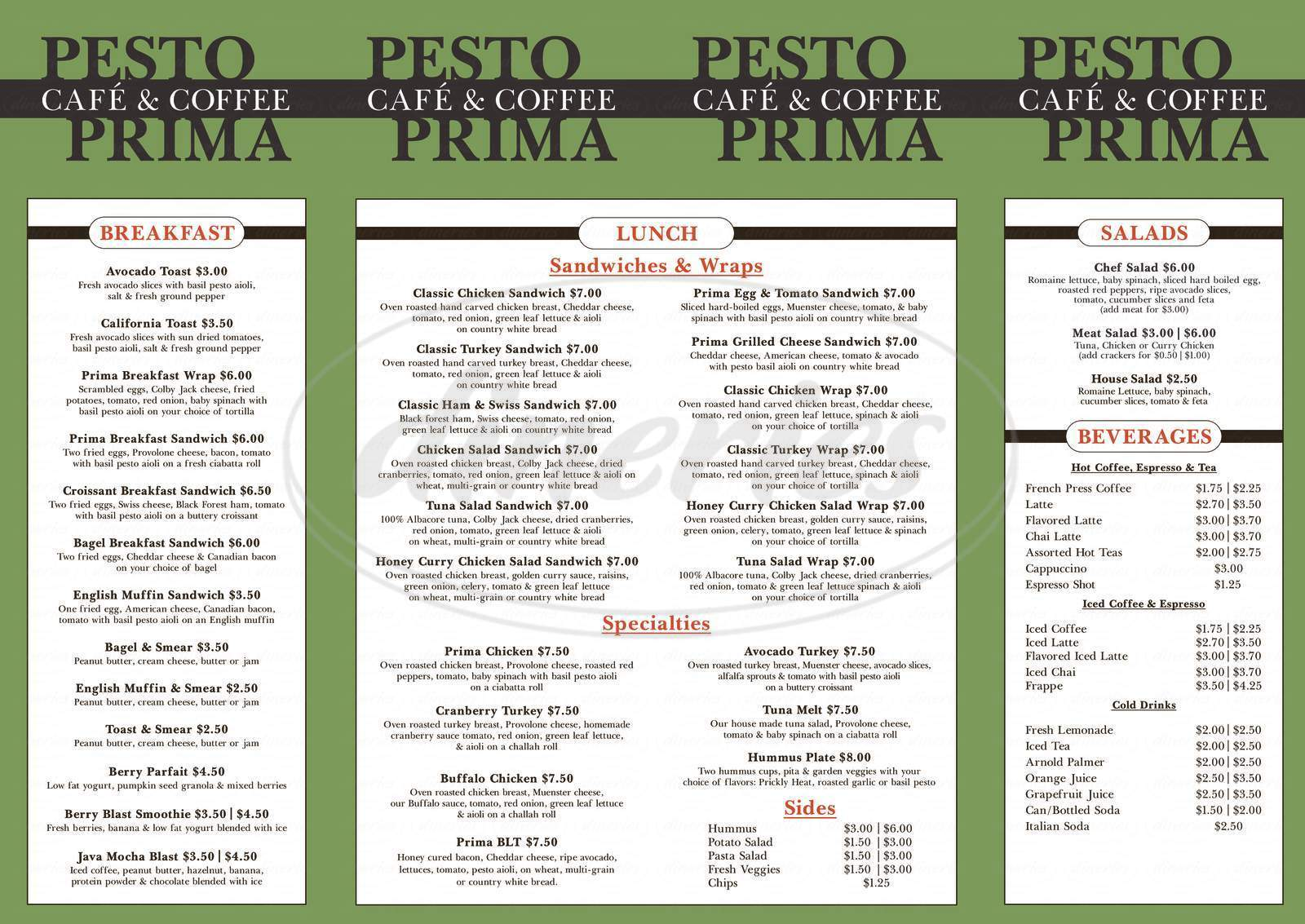 menu for Pesto Prima Cafe & Coffee