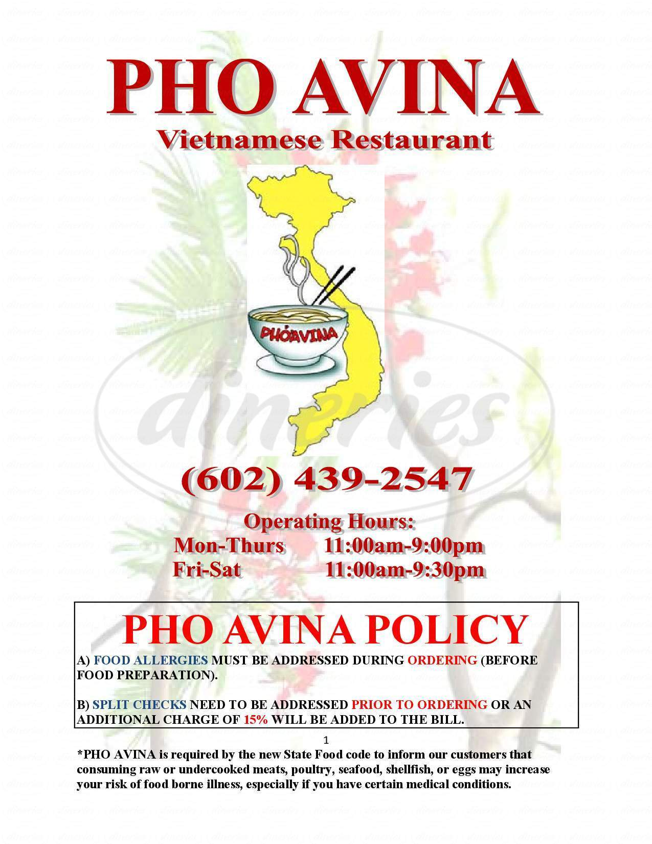 menu for Pho Avina