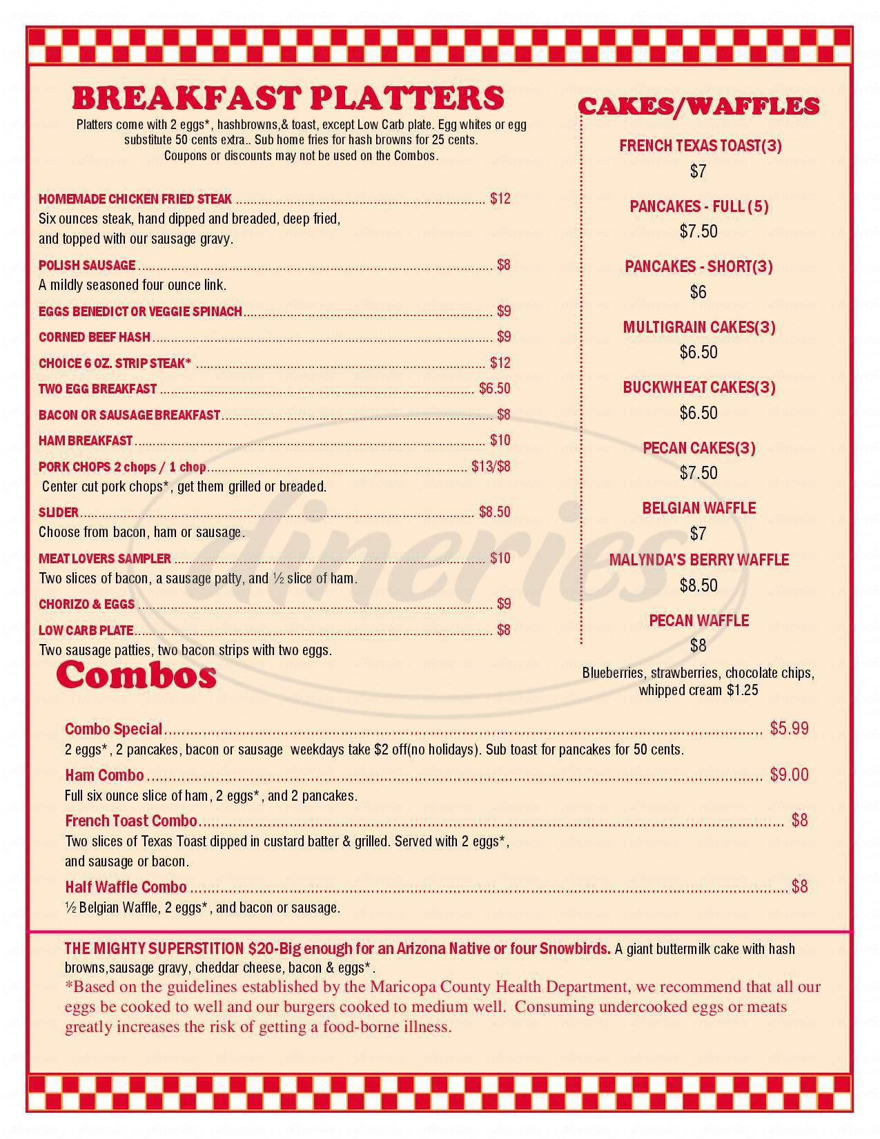 menu for Chase's Diner