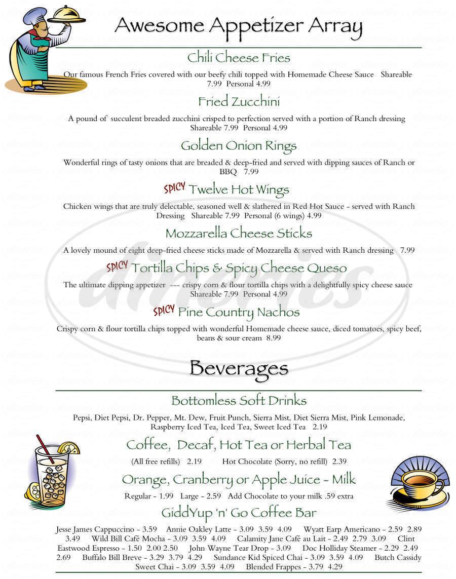 menu for Pine Country Restaurant