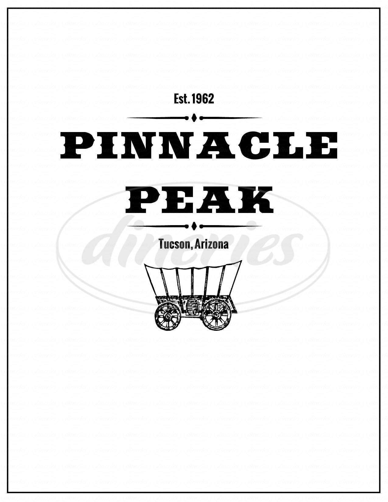 menu for Pinnacle Peak
