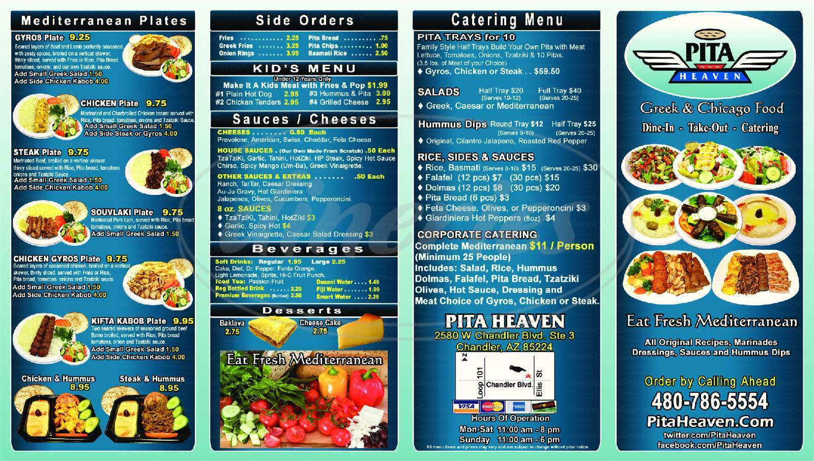 menu for Pita Heaven