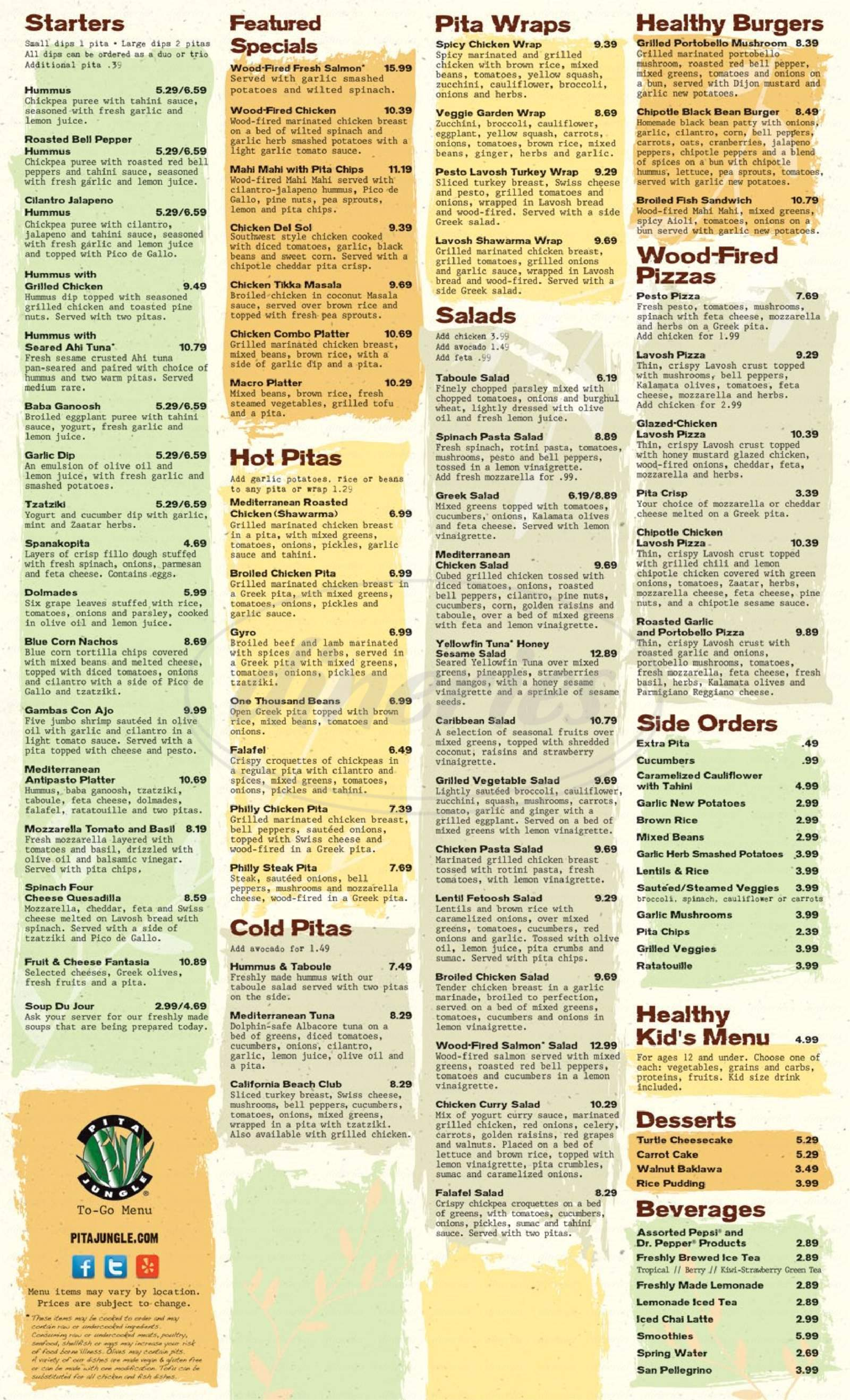 menu for Pita Jungle