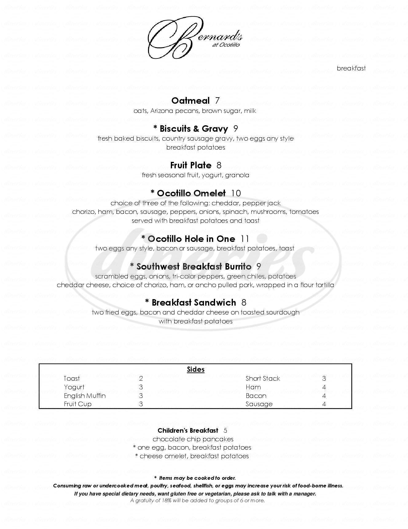 menu for Ocotillo Golf Resort & Bernard's Fine Dining