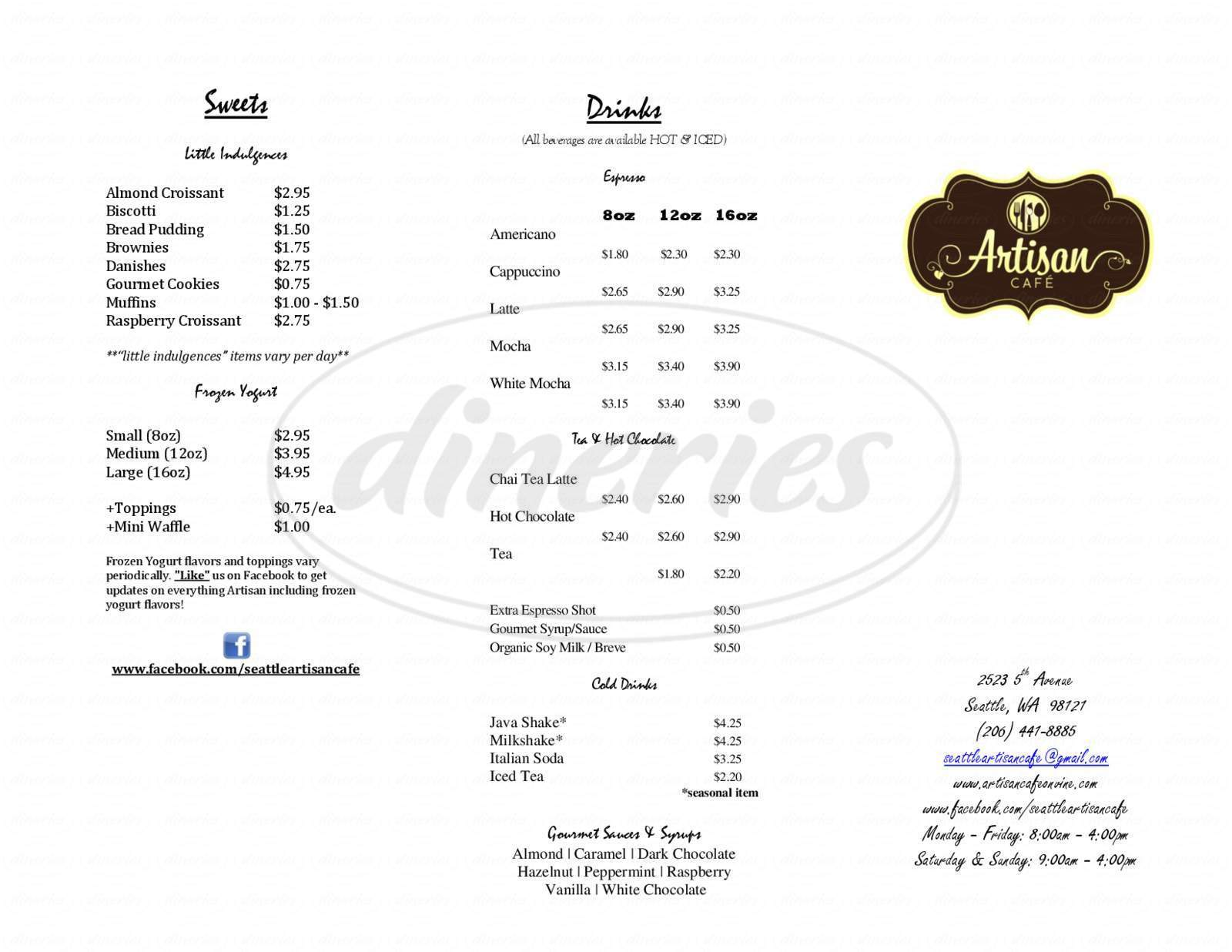 menu for Artisan Cafe
