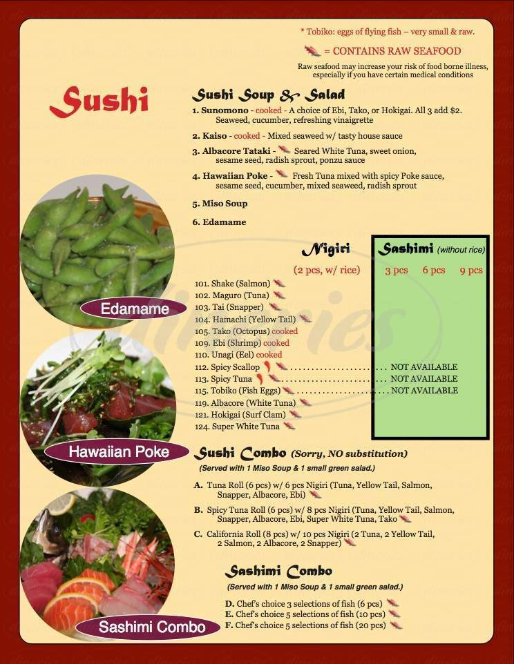 menu for Asian 1