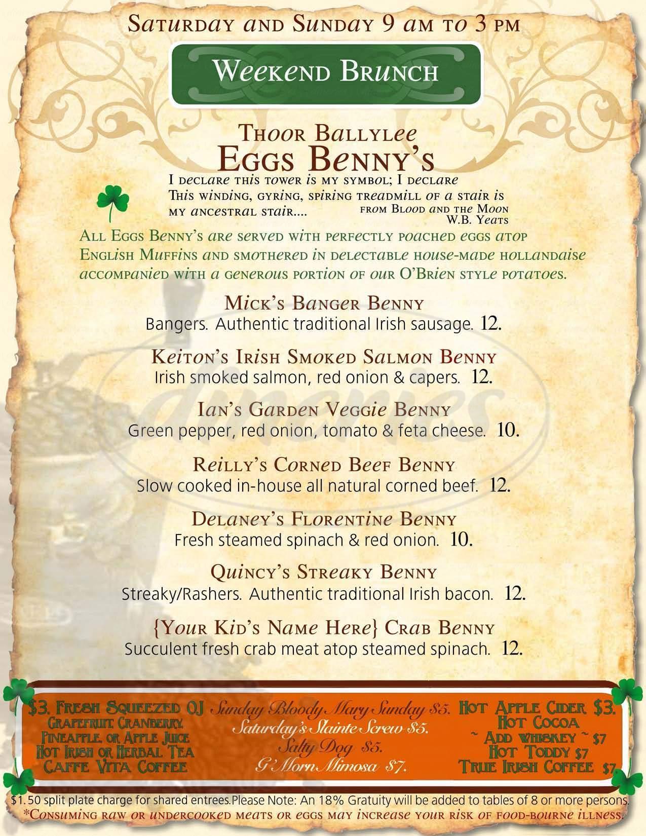 menu for A Terrible Beauty