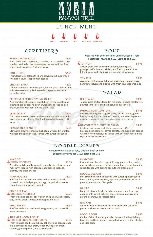 menu for Banyan Tree