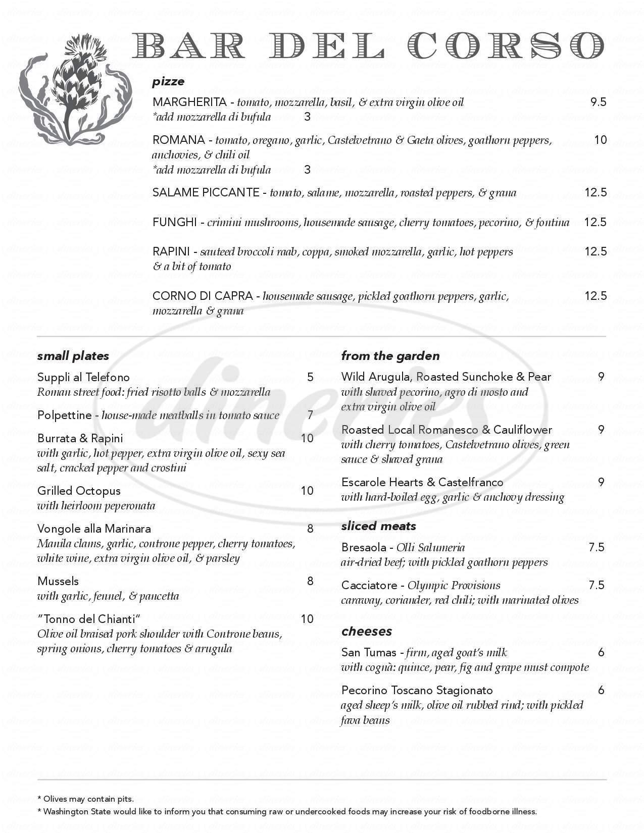 menu for Bar Del Corso