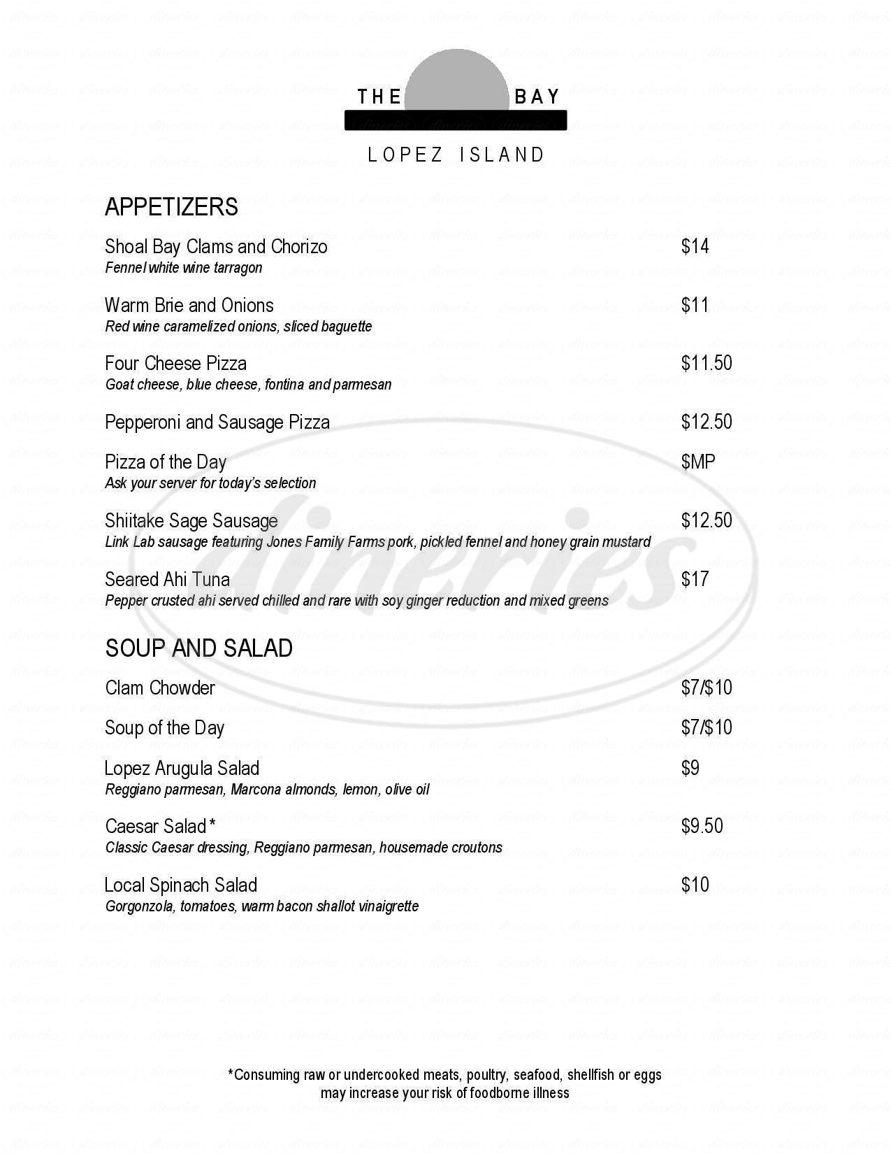 menu for The Bay Cafe