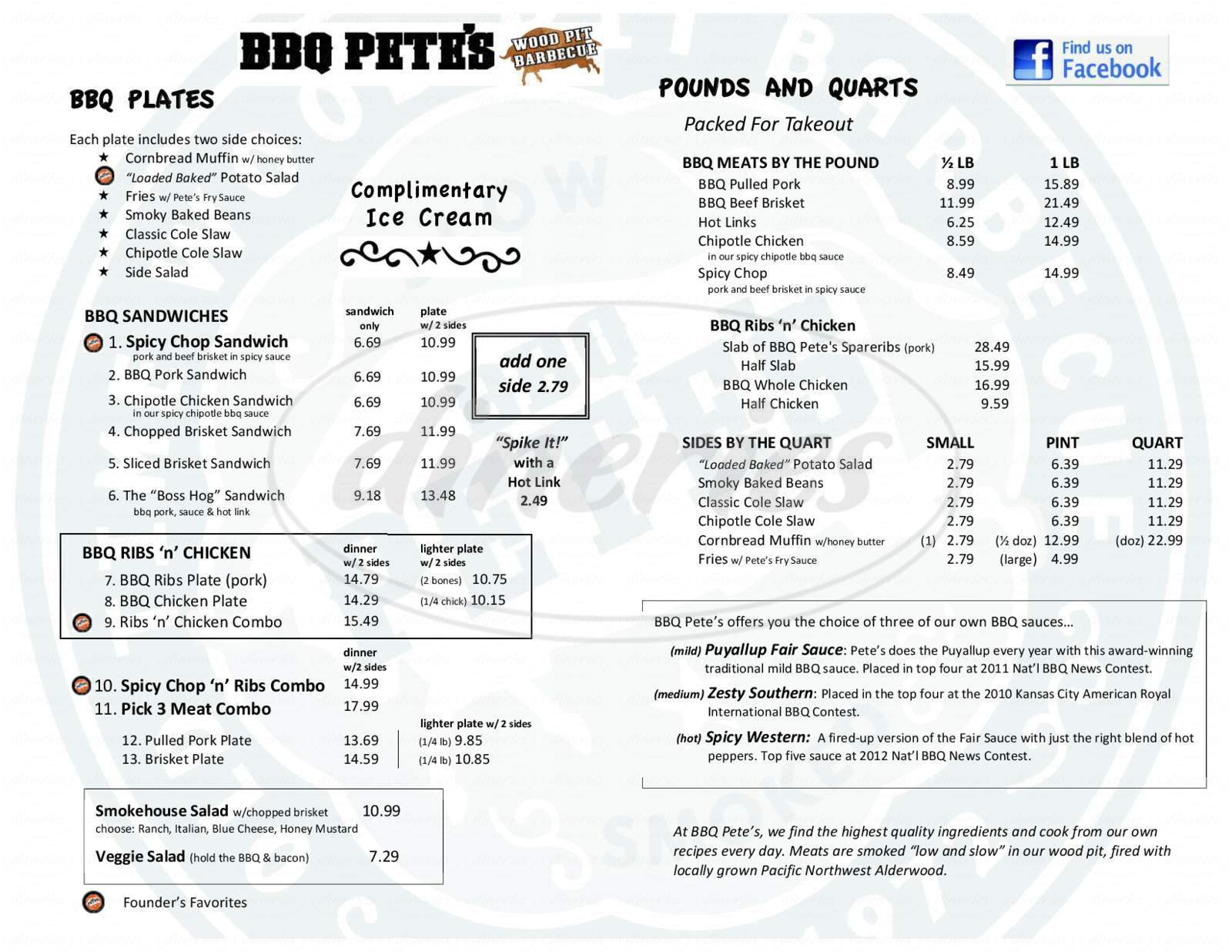 menu for BBQ Pete's