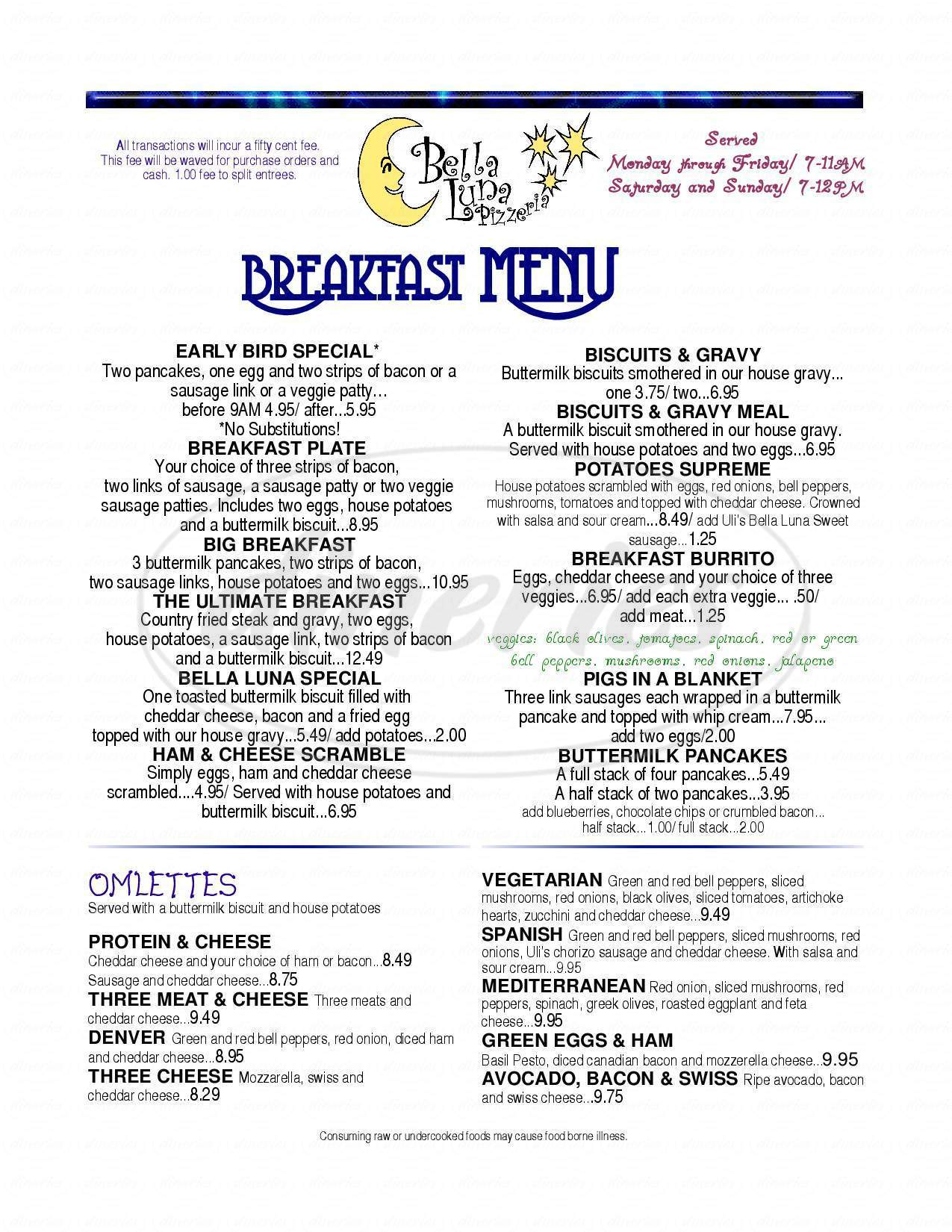 menu for Bella Luna Pizzeria