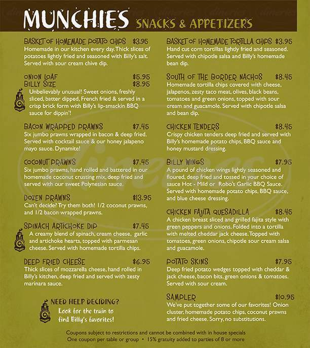 menu for Billy McHale's Restaurant