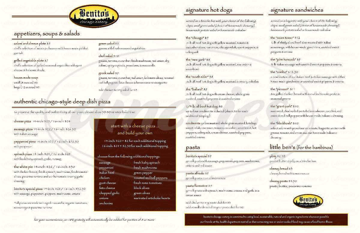 menu for Benito's Chicago Eatery