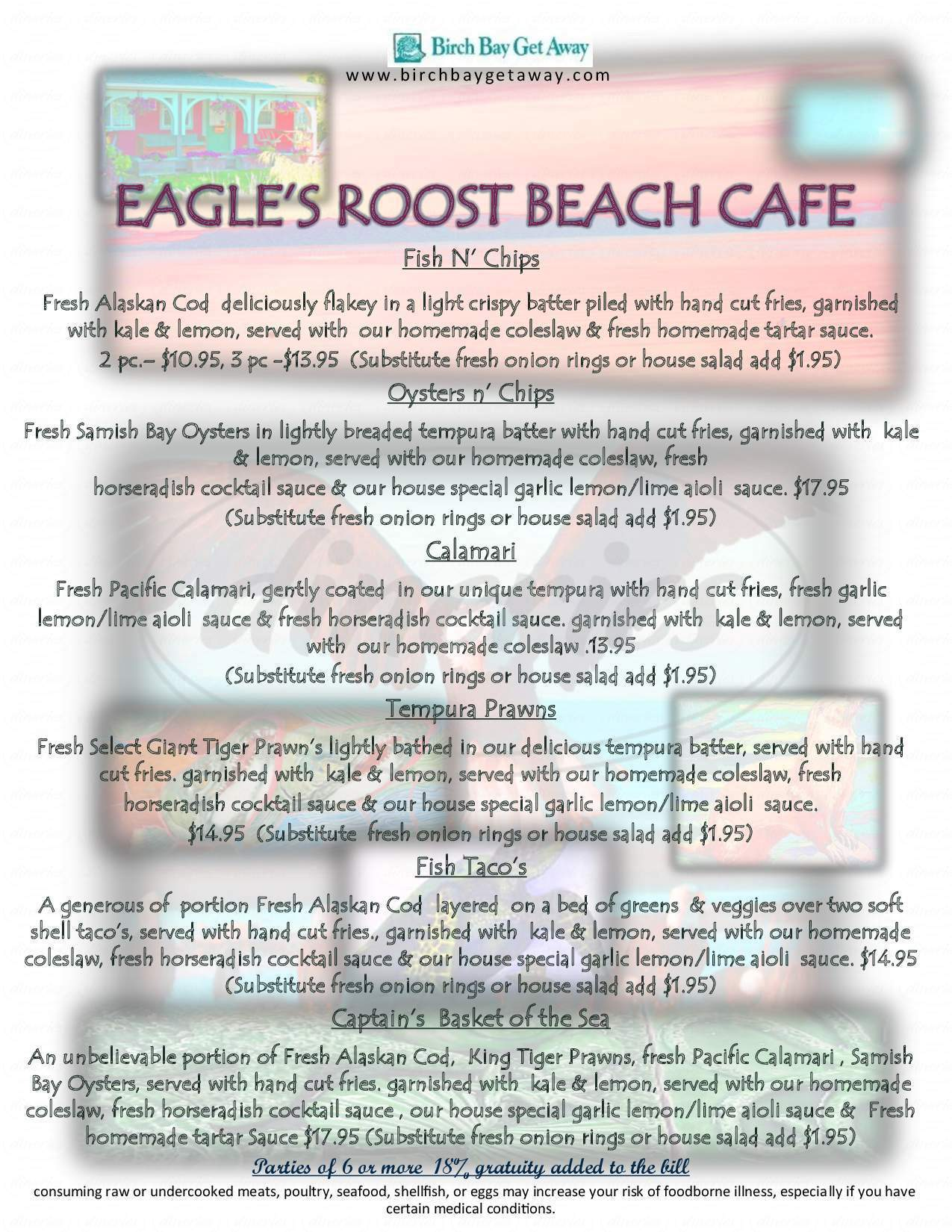 menu for Eagle's Roost