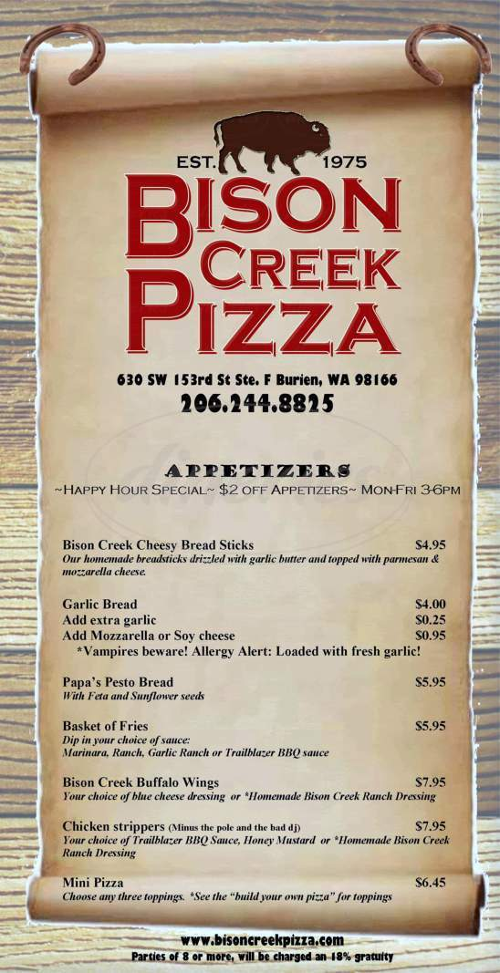 menu for Bison Creek Pizza & Pub