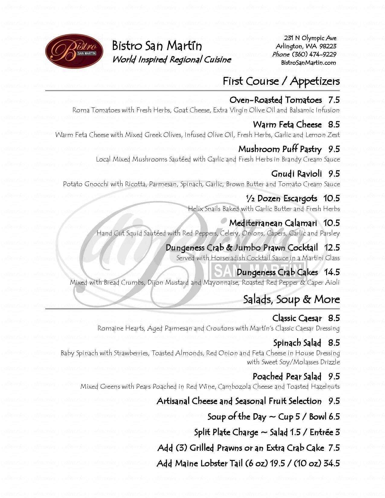 menu for Bistro San Martin
