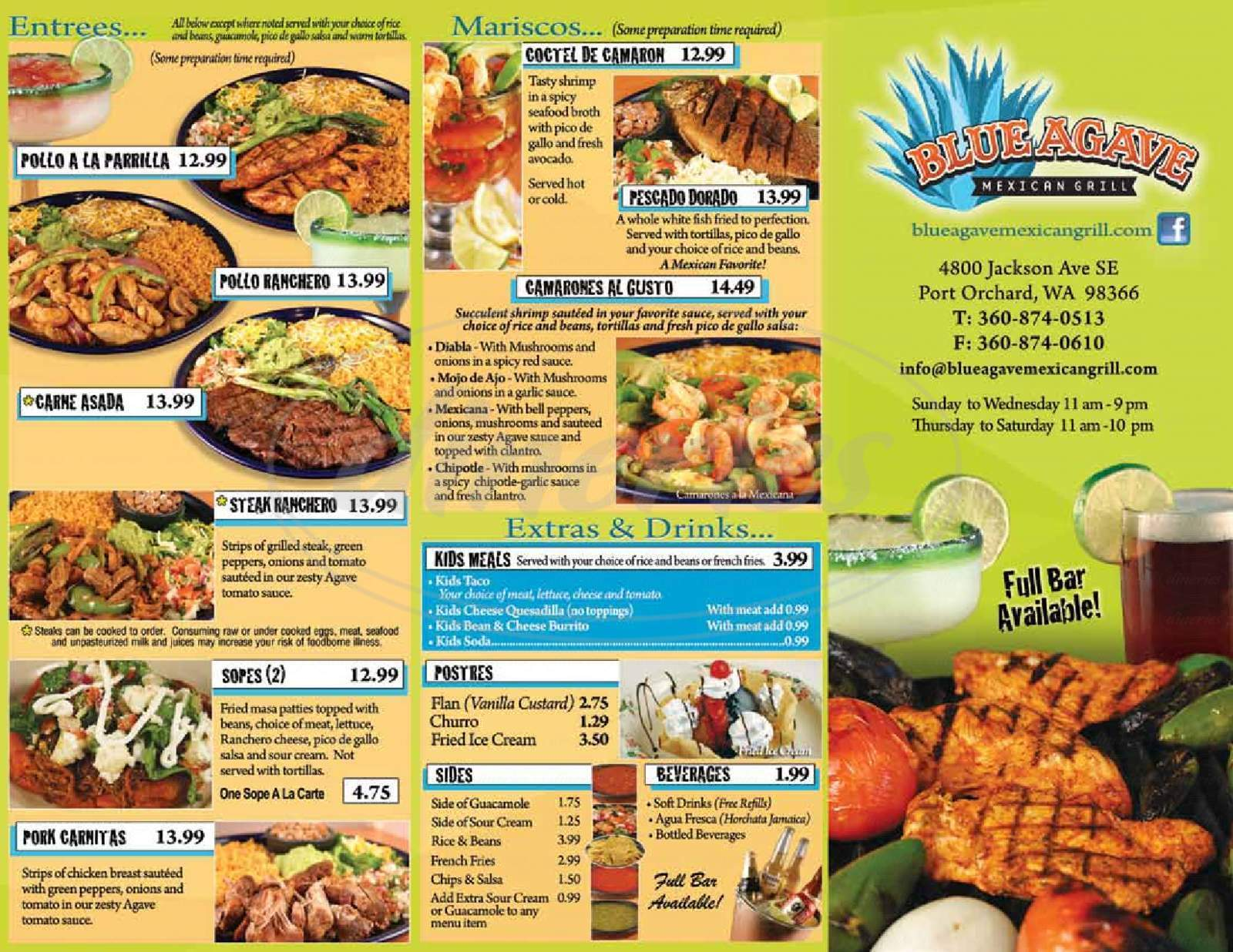 menu for Blue Agave Mexican Grill & Tequila Bar