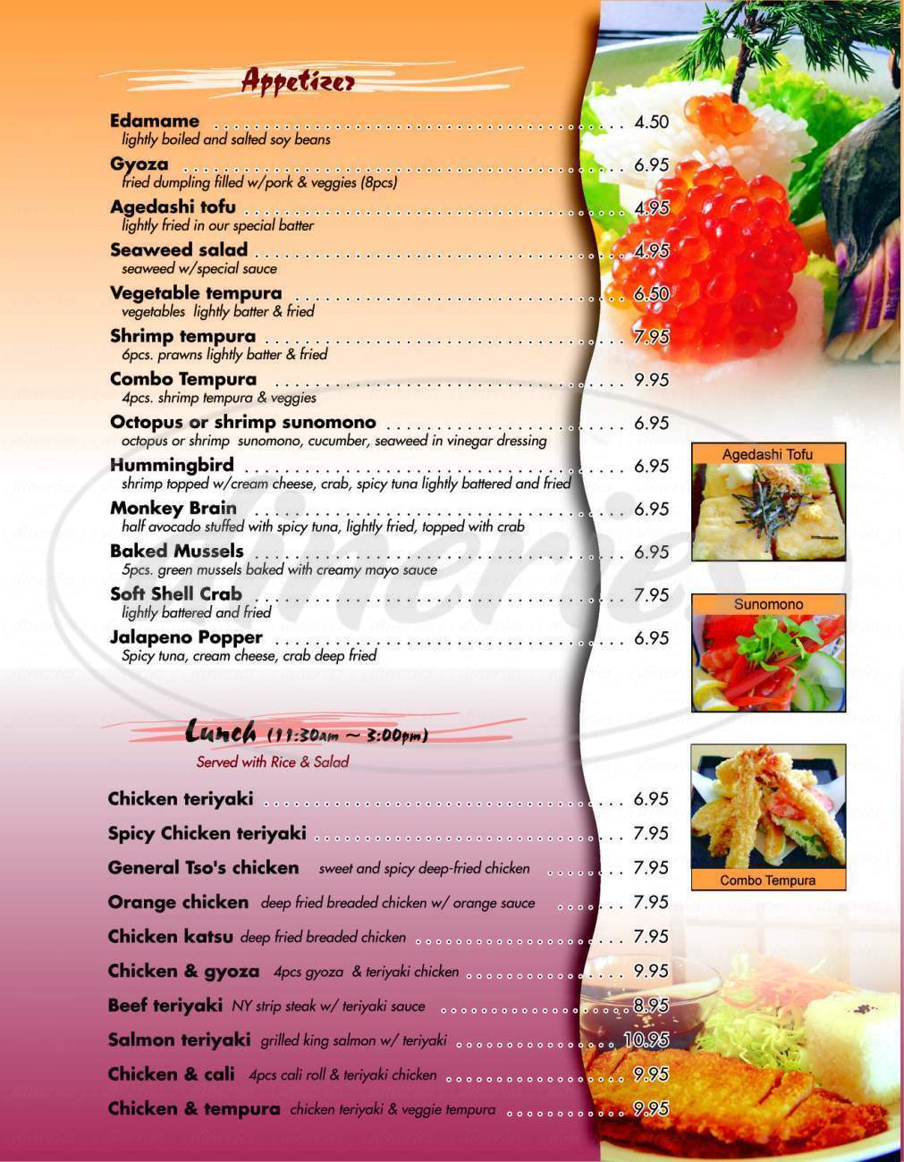 menu for Blue Fin Sushi