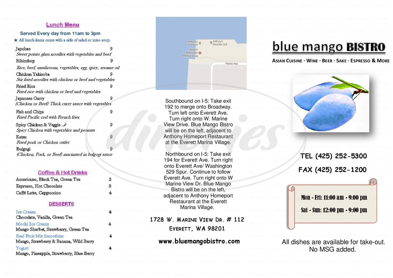 menu for Blue Mango Bistro