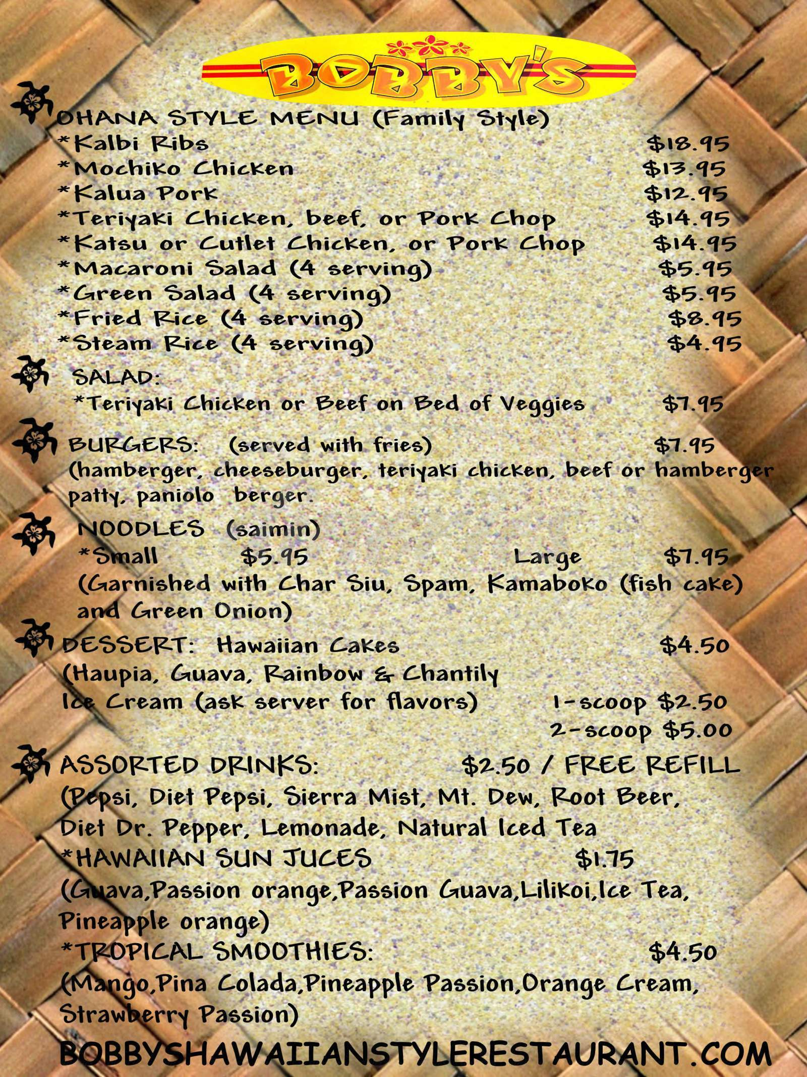 menu for Bobby's Hawaiian Style Restaurant