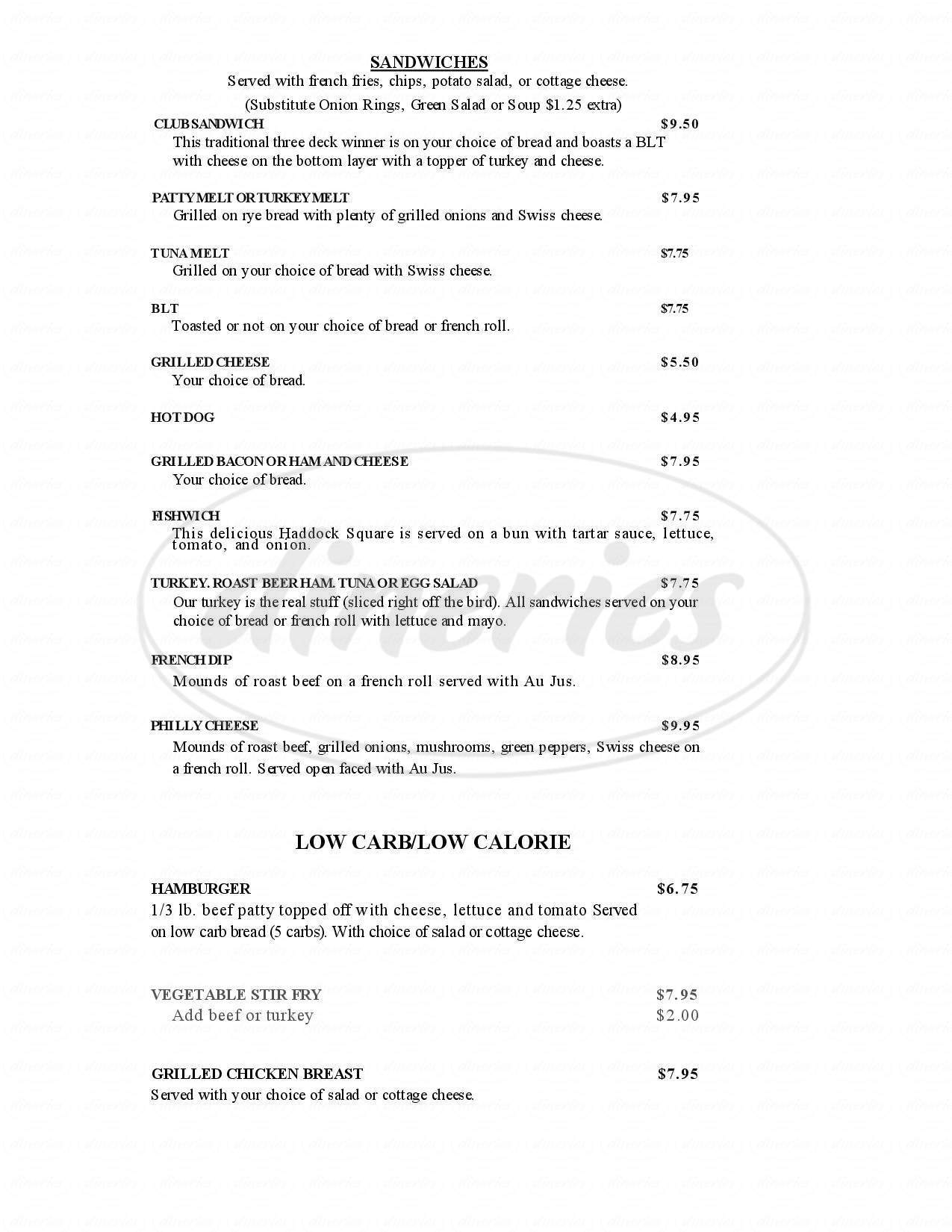 menu for Boggan's Oasis Restaurant