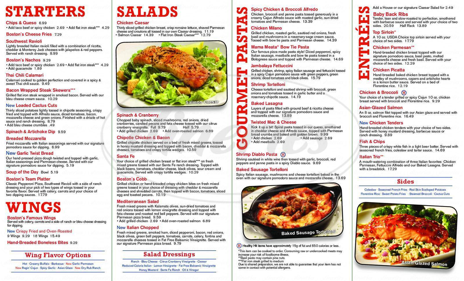 menu for Boston's