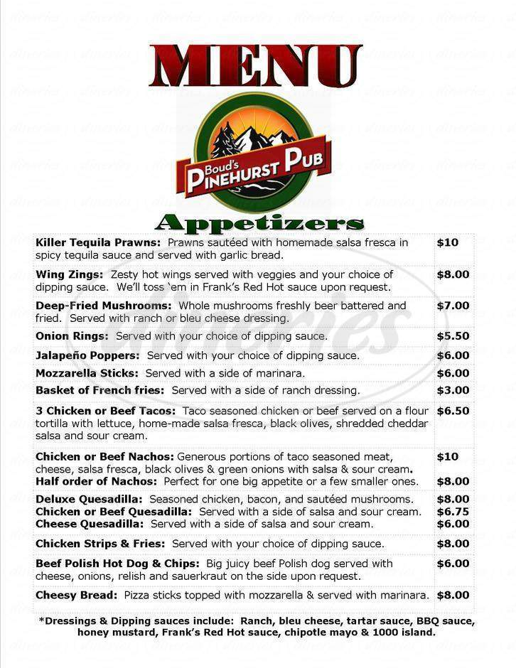 menu for Boud's Pinehurst Pub