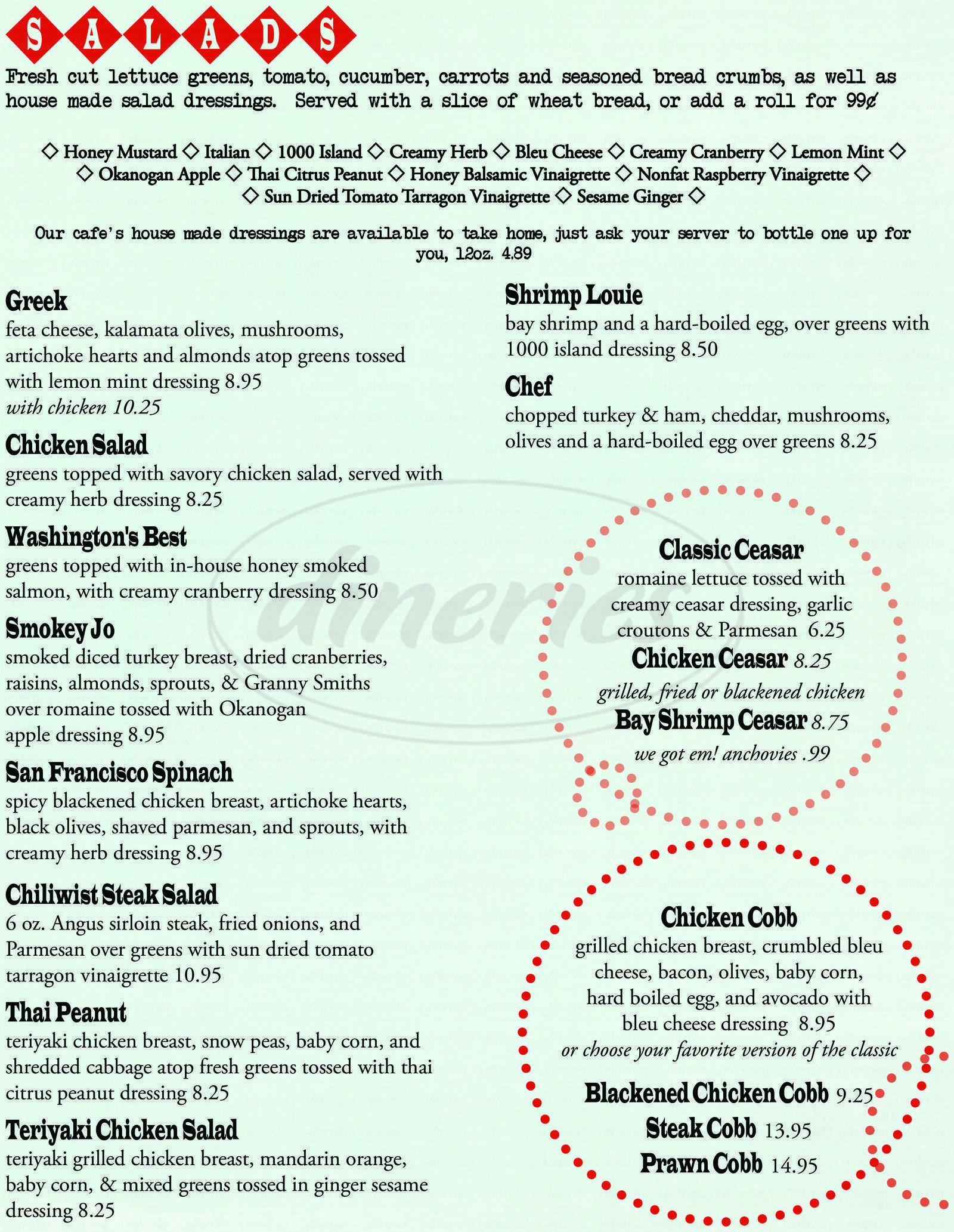 menu for Breadline Cafe