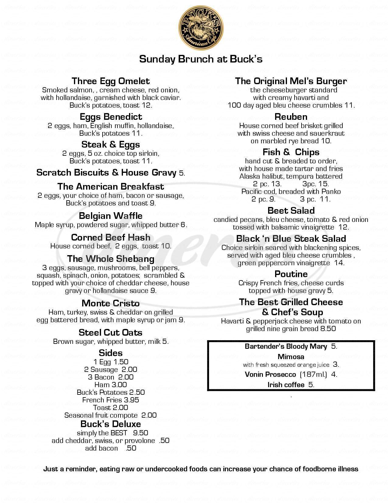 menu for Buck's American Cafe
