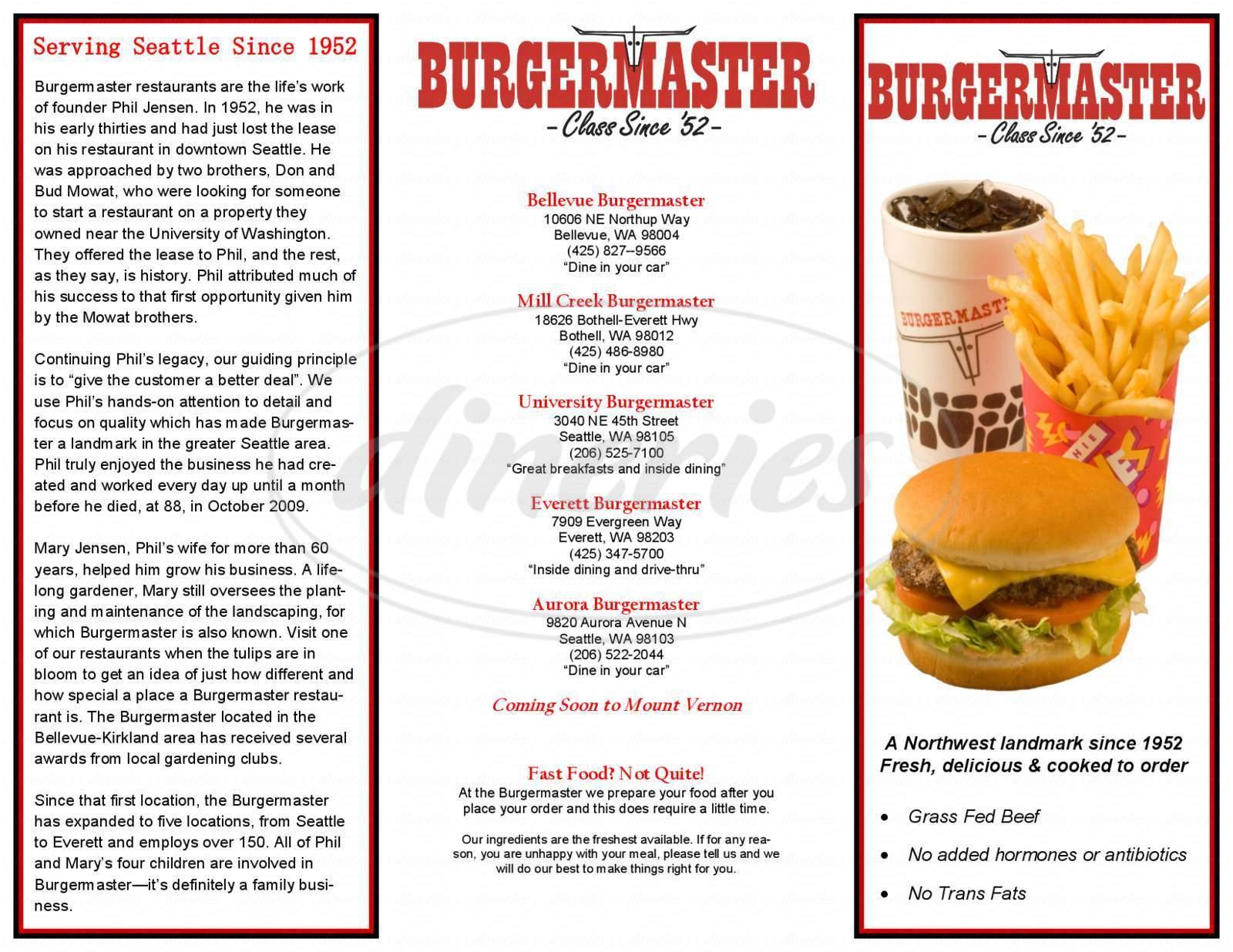 menu for Burgermaster