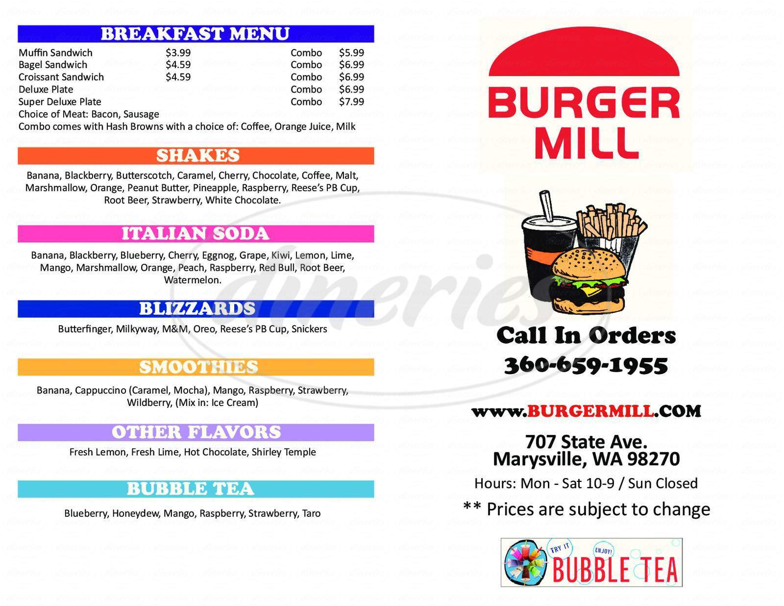menu for Burger Mill