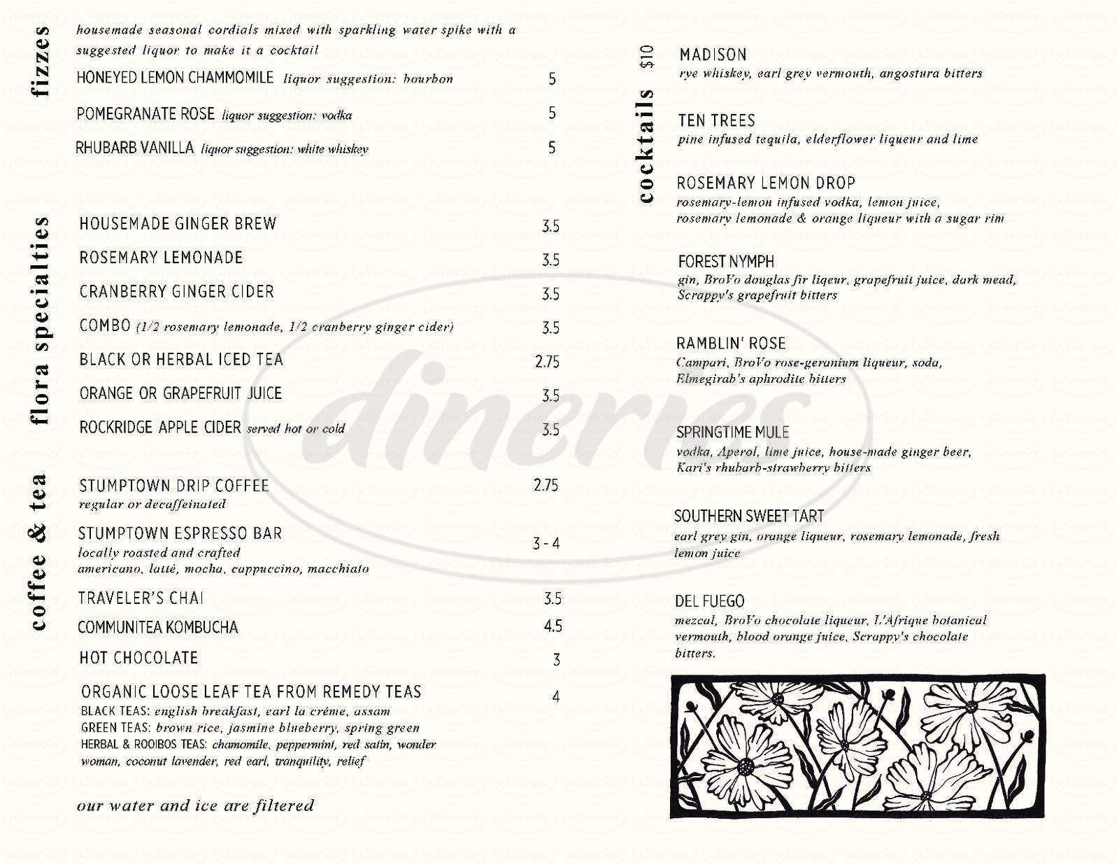 menu for Cafe Flora