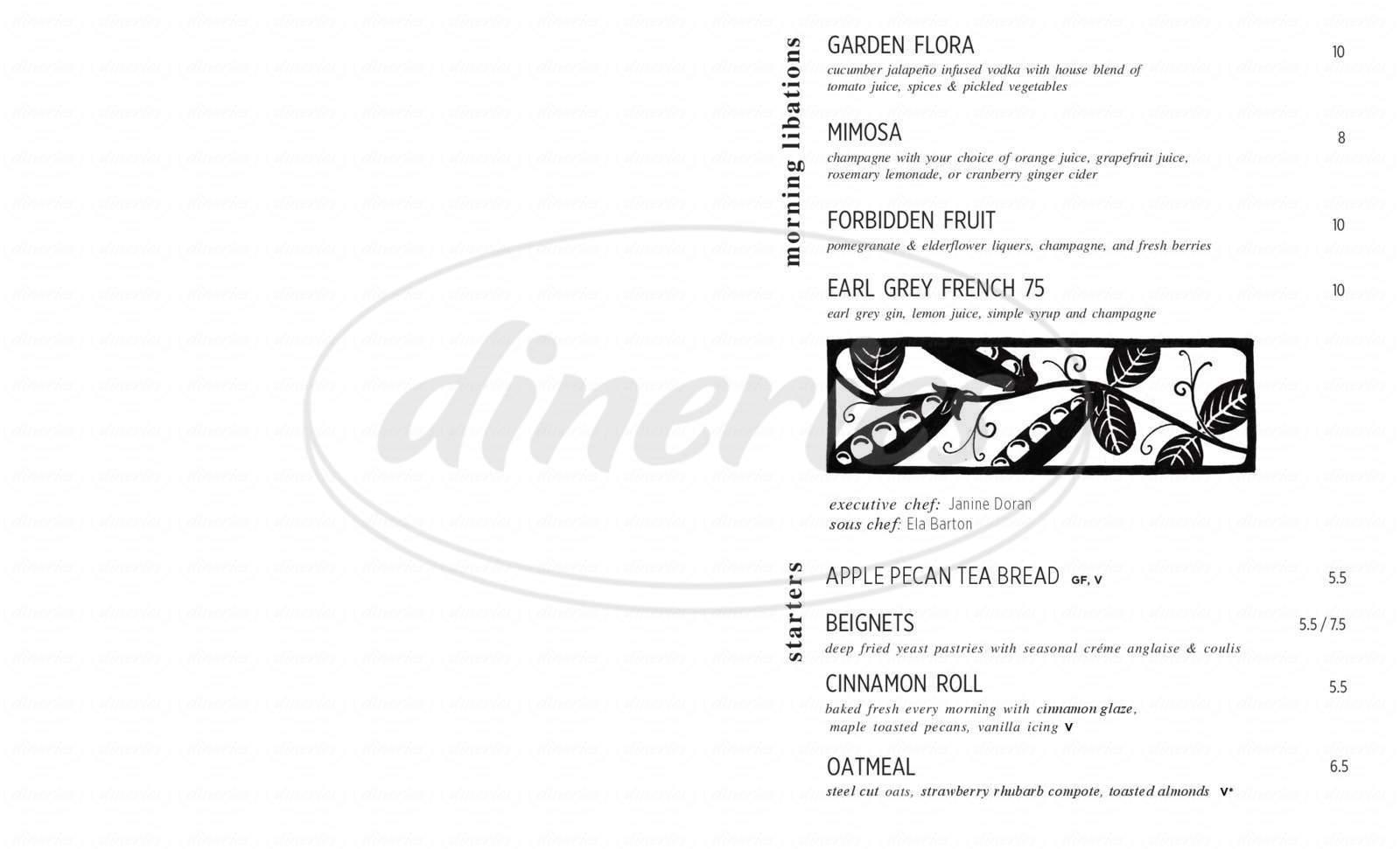 menu for Cafe Flora