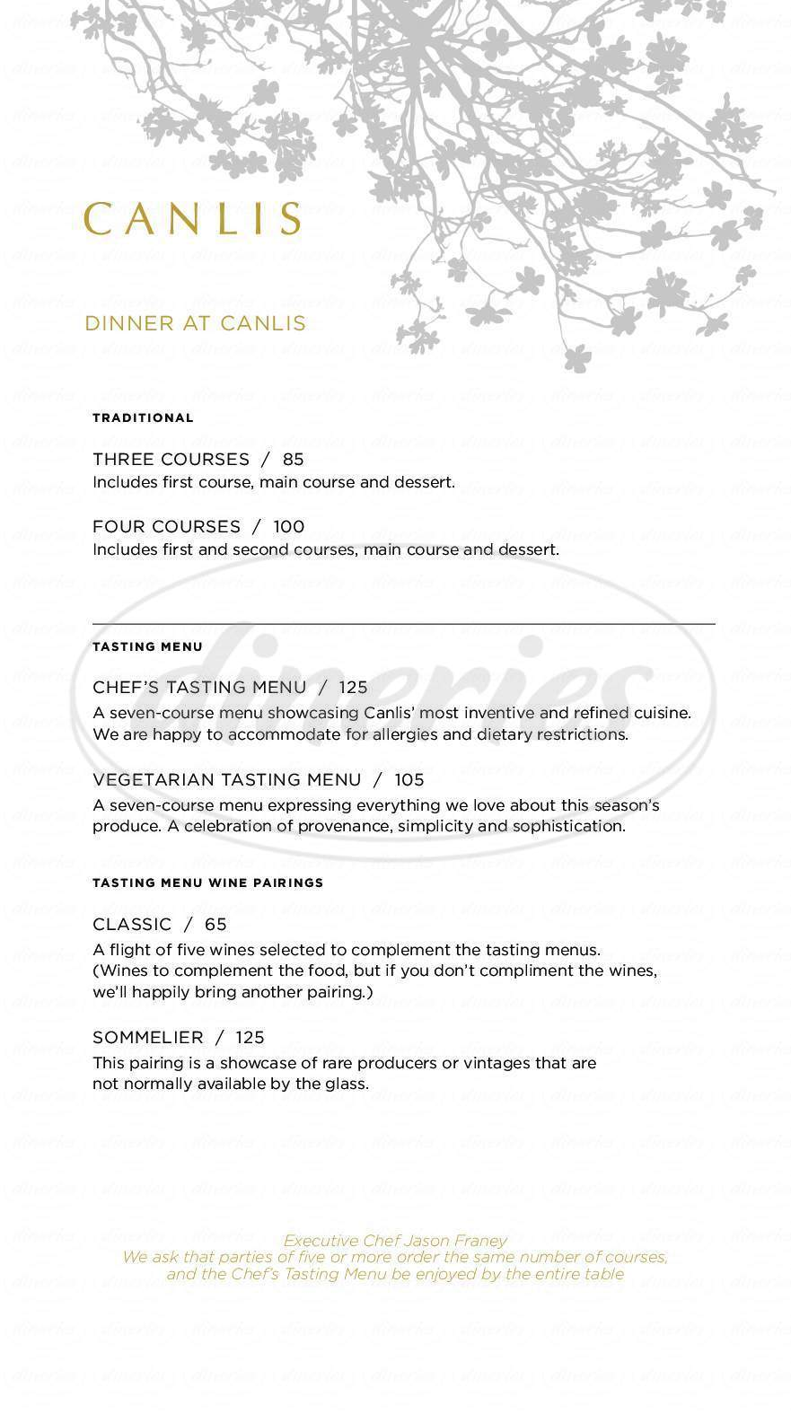 menu for Canlis