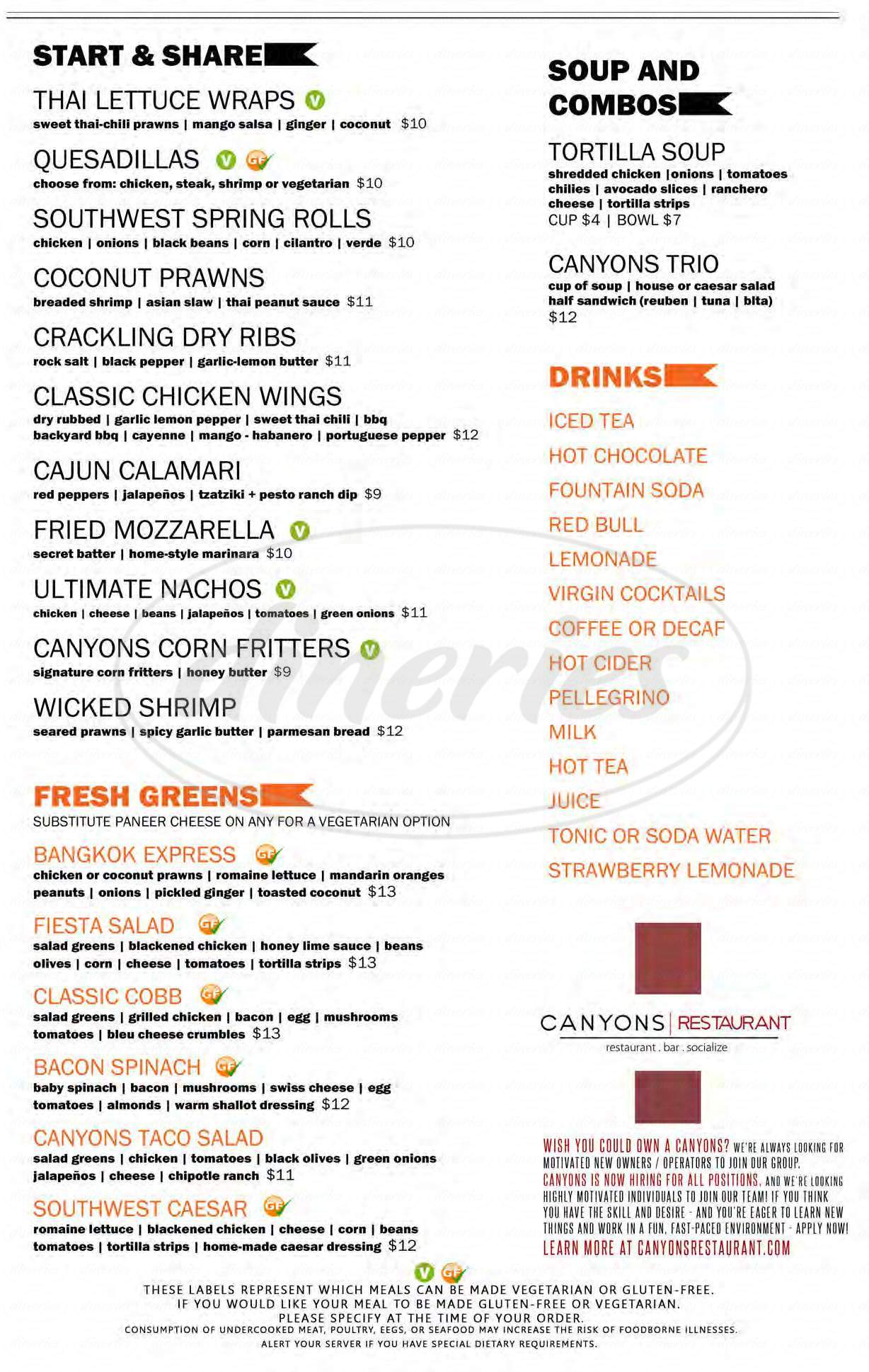 menu for Canyons Restaurant & Bar
