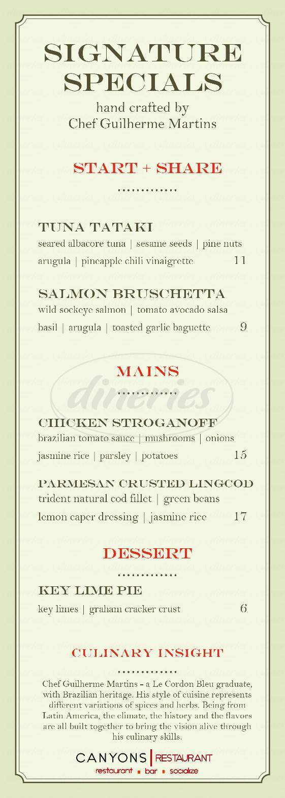 menu for Canyons Restaurant