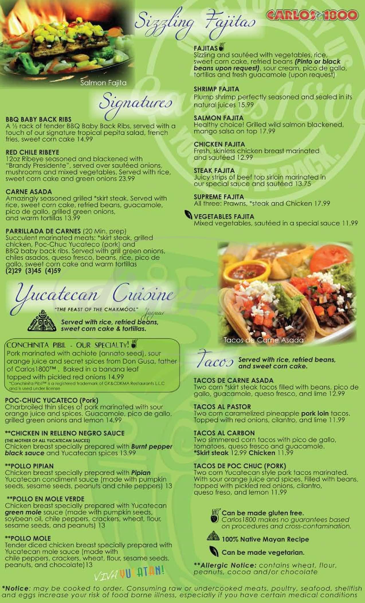 menu for Carlos1800