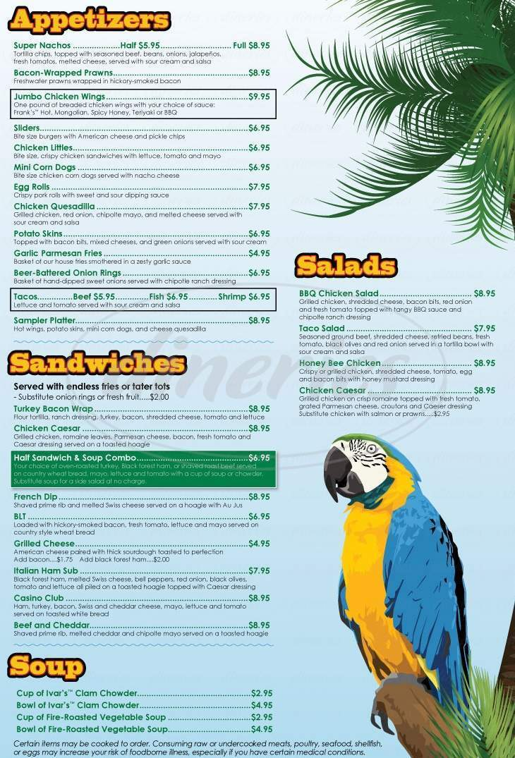 menu for Casino Caribbean