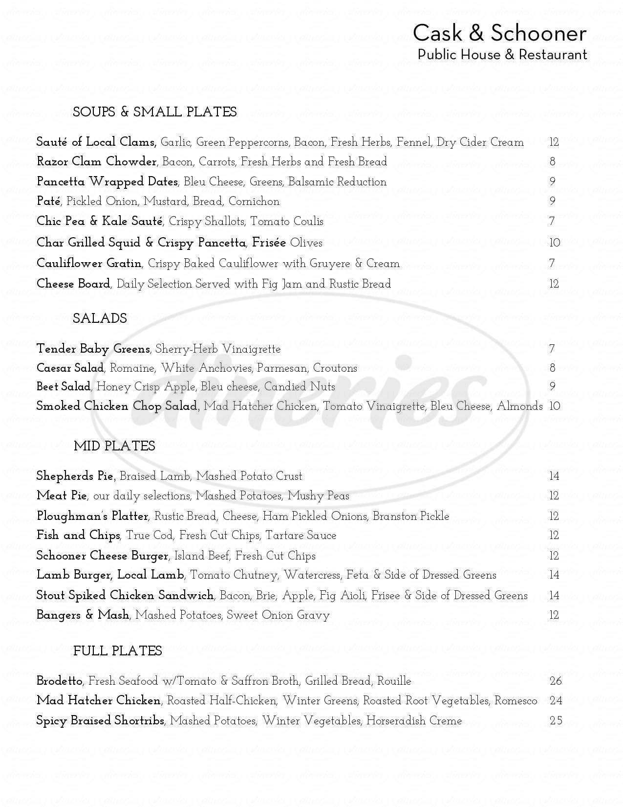 menu for Cask and Schooner Public House & Restaurant