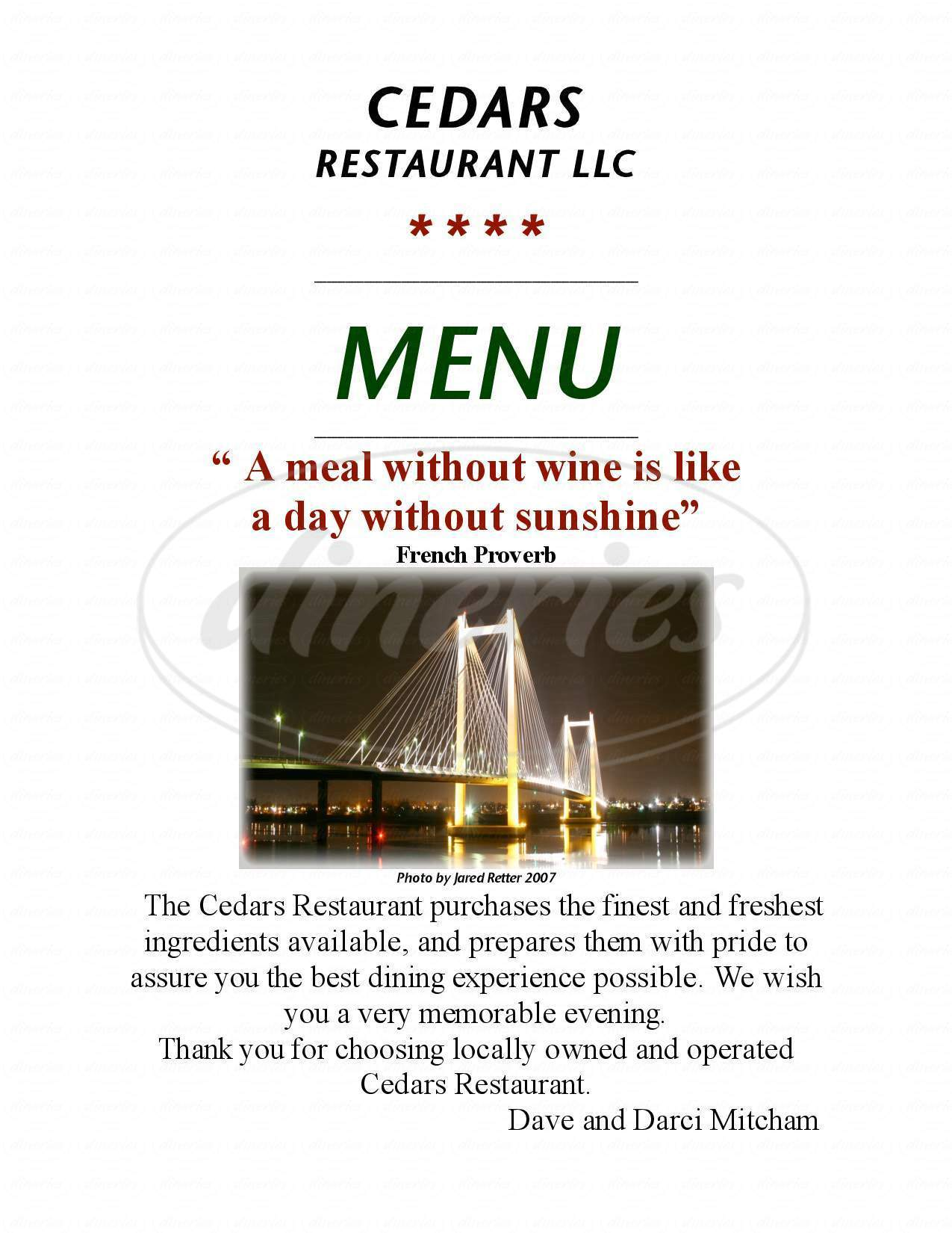 menu for The Cedars Restaurant