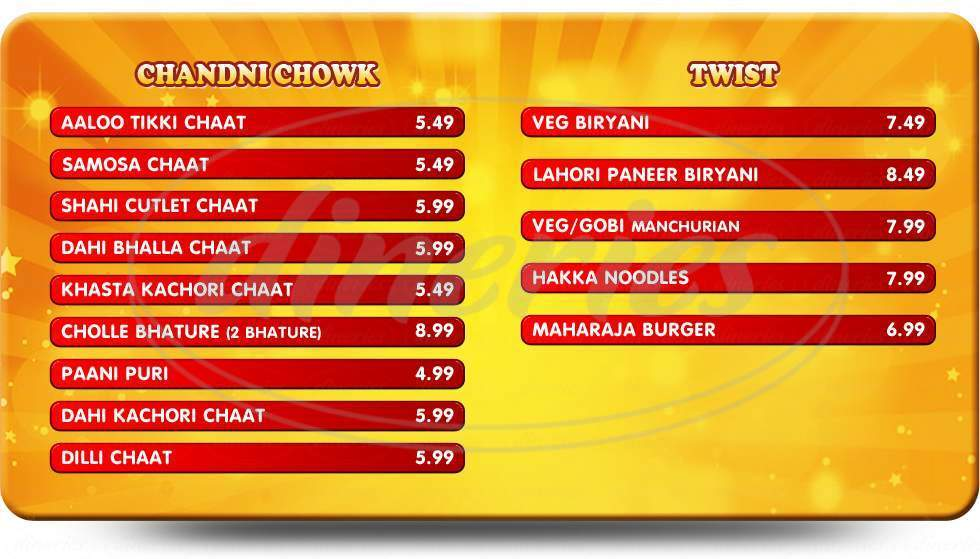 menu for Chaat N Roll