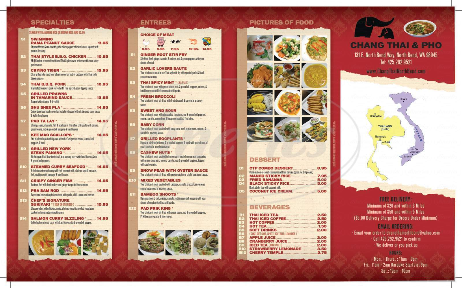 menu for Chang Thai & Pho