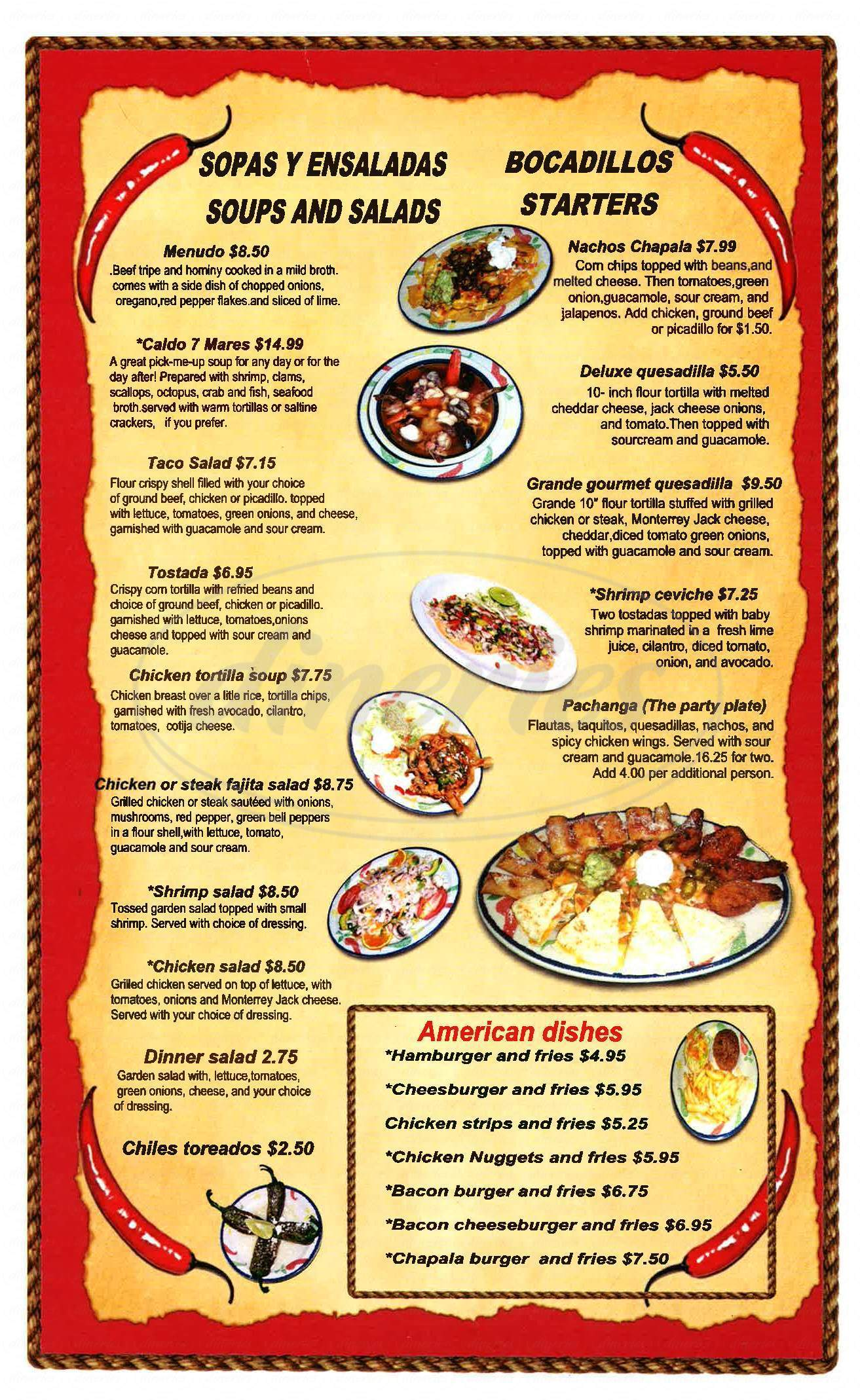 menu for El Chapala