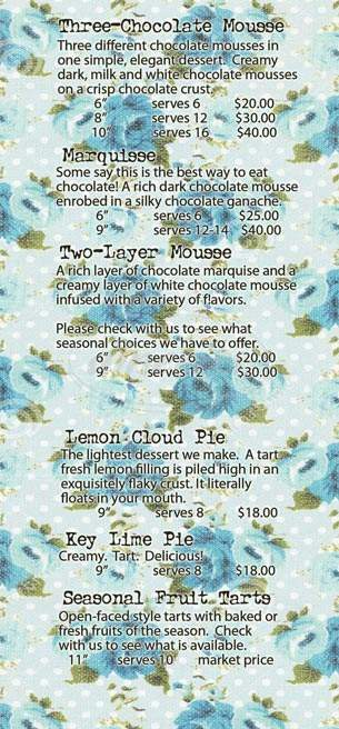 menu for Chaps Coffee