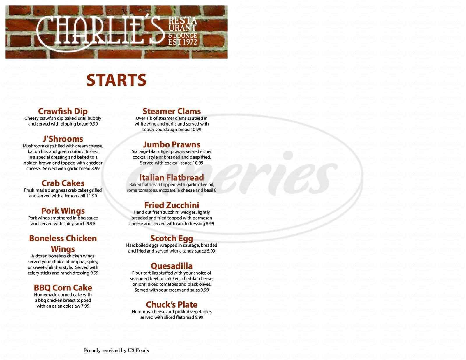 menu for Charlies Restaurant