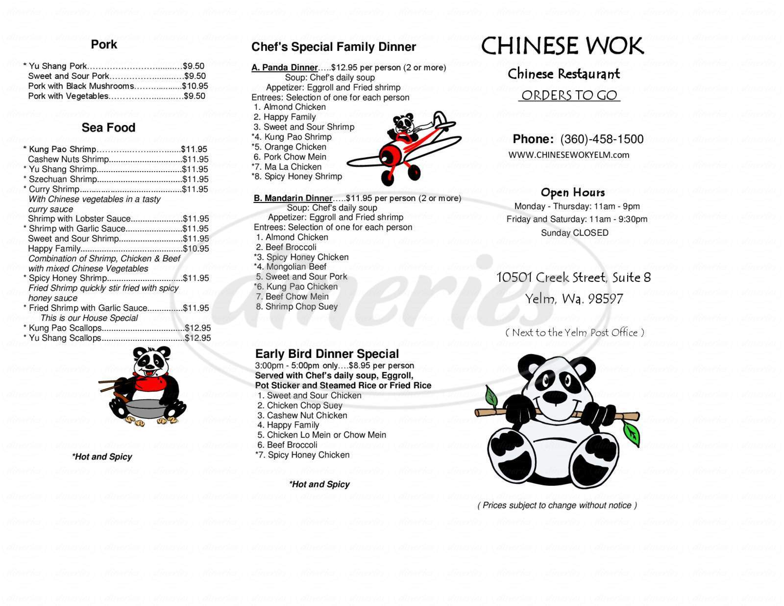 menu for Chinese Wok