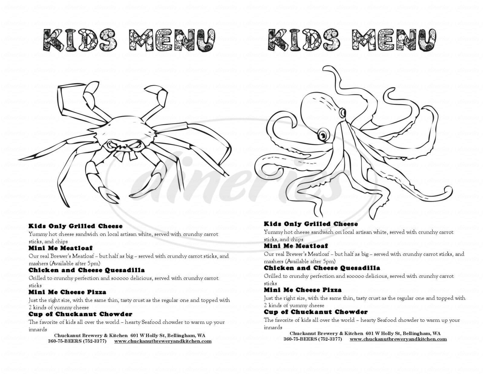 menu for Chuckanut Brewery & Kitchen