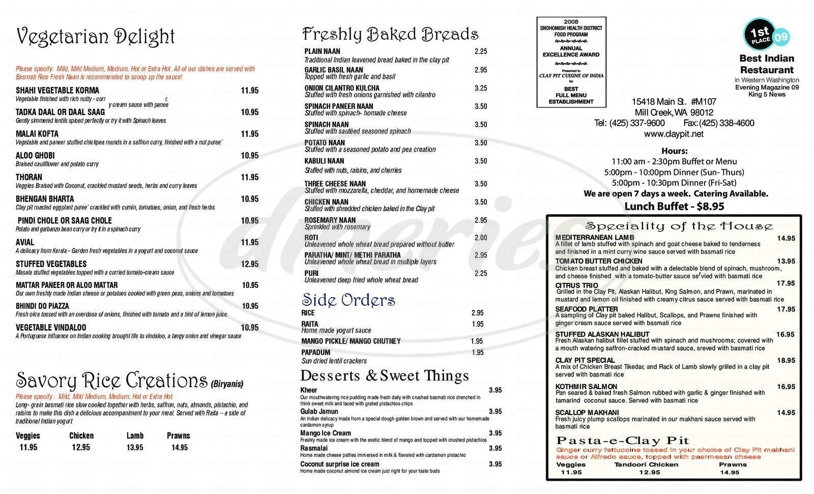menu for Clay Pit